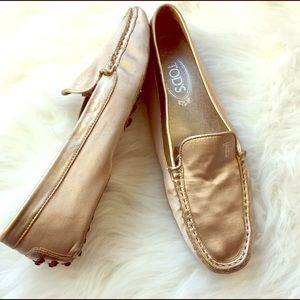 Tod's Gold Loafers